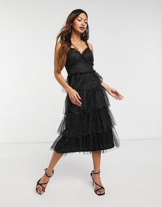 Forever U organza tiered dress in black glitter