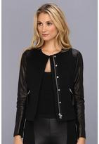Rebecca Taylor L/S Twill Moto Jacket w/Leather (Black) - Apparel