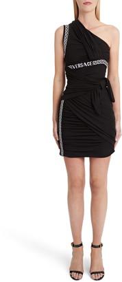 Versace Logo Trim One-Shoulder Body-Con Dress
