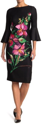 Gabby Skye Bell Sleeve Floral Scuba Dress