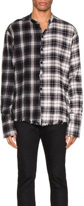 Greg Lauren Mixed Black Plaid Studio Shirt in Black | FWRD