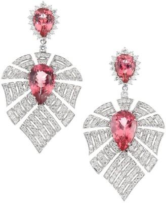 Hueb Apus 18K White Gold, Diamond & Pink Tourmaline Drop Earrings