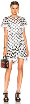Dolce & Gabbana Ruffle Mini Dress in Geometric Print,White.