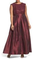 Chetta B Plus Size Women's Sequin Lace & Taffeta Gown