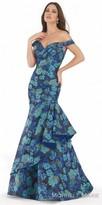 Morrell Maxie Off the Shoulder Drop Waist Jacquard Evening Dress