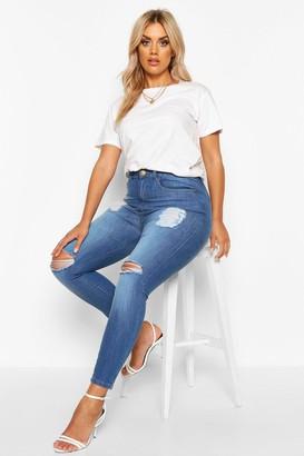 boohoo Plus Distressed High Waist Skinny Jeans