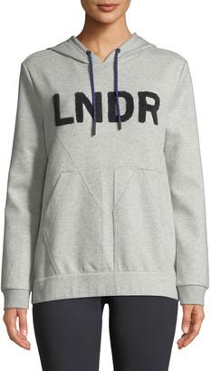 LNDR College Hooded Boucle-Logo Jersey Sweatshirt