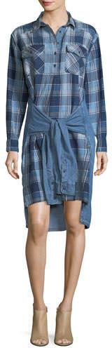 Current/Elliott The Twist High-Low Shirt-Tie Plaid Denim Dress