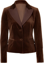 Alberta Ferretti Brown Two Button Velvet Jacket