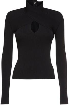 MSGM Knit Turtleneck Sweater W/ Cutout