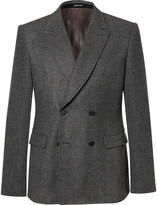 Alexander McQueen Grey Prince of Wales Check Wool-Flannel Double-Breasted Blazer