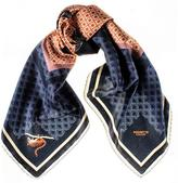 Black 'Shrew and Raven' Italian Silk Square Scarf