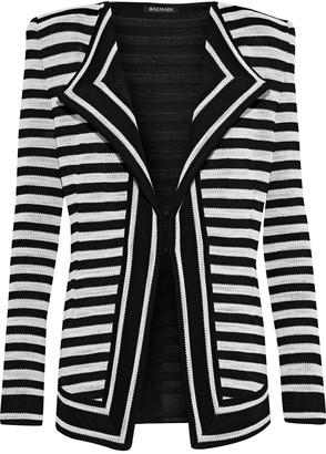 Balmain Striped Jacquard-knit Jacket