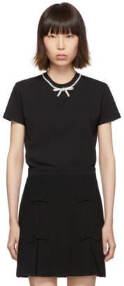 Miu Miu Black Jersey Bow T-Shirt