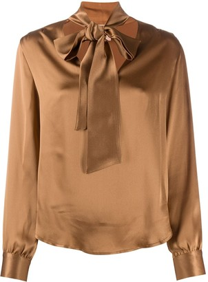 Nude Pussybow-Neck Blouse