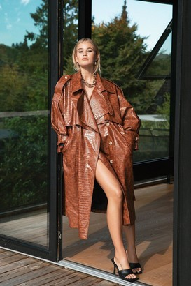 Nasty Gal Womens Croc Our World Faux Leather Belted Trench Coat - Brown