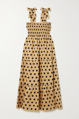 Faithfull The Brand + Net Sustain Rianne Tie-detailed Polka-dot Linen Midi Dress - Camel