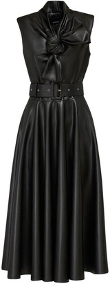 Anouki Faux Leather Midi Dress W/ Bow Detail