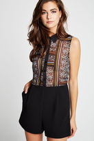 BCBGeneration Floral Scarf Print Sleeveless Collared Romper - Black