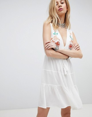 Kiss The Sky Embroidered Boho Dress With Plunge Front-Cream