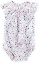 Osh Kosh Smocked Floral Print Bodysuit
