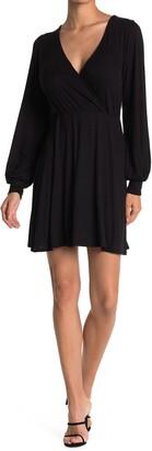 Kenedik Surplice Long Sleeve Ribbed Knit Wrap Dress