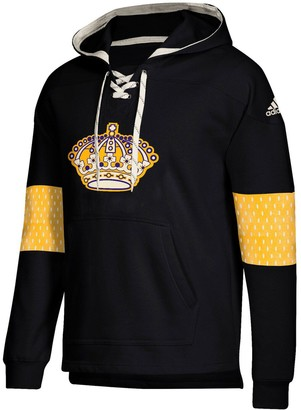 adidas Men's Black Los Angeles Kings Jersey Lace-Up Pullover Hoodie