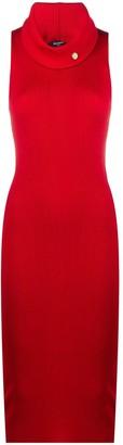 Balmain Button-Detail Ribbed Knit Dress