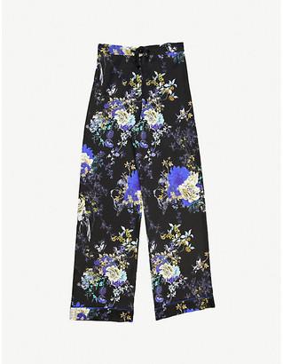 MENG Floral-print wide-leg silk-satin pyjama trousers