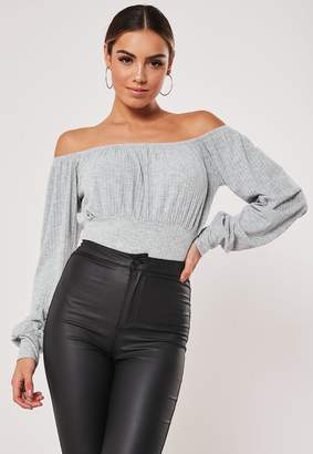 Missguided Petite Grey Jersey Ribbed Milkmaid Bodysuit