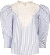 Sea White Striped Lace Bib Top
