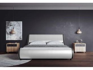 Orren Ellis Wesrmere Upholstered Low Profile Sleigh Bed Size: Full, Color: White/Black