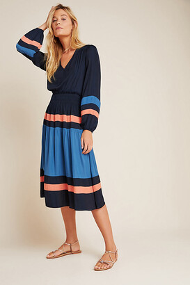 Aidy Colorblocked Midi Dress By Current Air in Blue Size 1 X