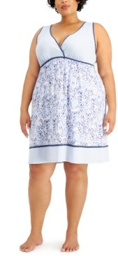 Charter Club Plus Size Printed Chemise Nightgown, Created for Macy's