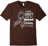 Diabetes Awareness T Shirt - I Wear Grey For My Husband