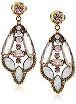 "Sorrelli Pink Peony"" Crystal and Semi-Precious Navette Statement Drop Earrings"