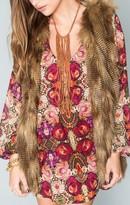 MUMU Turquoise and Tobacco Cheyenne Fringe Necklace ~ Tobacco