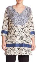 Marina Rinaldi, Plus Size Silk Twill Floral-Print Tunic