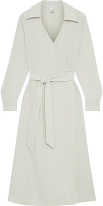 Iris & Ink Bryce Belted Crepe Midi Wrap Dress