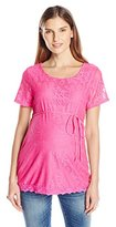 Three Seasons Maternity Women's Maternity Ss Lace Solid Top Old Style 16110Ts