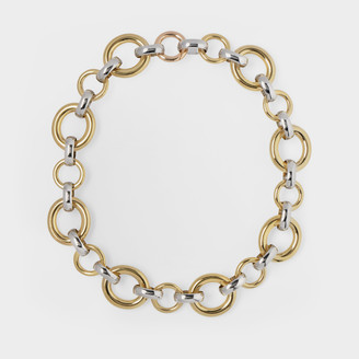 Laura Lombardi Calle Necklace In Bicolor Brass