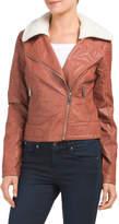 Juniors Moto Jacket With Sherpa Collar