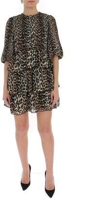 Ganni Georgette Leopard Print Mini Dress