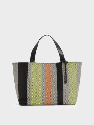 Charles & Keith Large Striped Jacquard Tote Bag