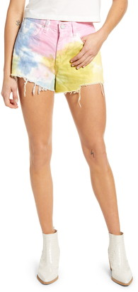 Blank NYC The Barrow Tie Dye High Waist Denim Shorts