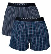 Boss Two Pack Navy & Maroon Woven Boxer Trunks