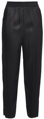 By Malene Birger Cropped Grosgrain-trimmed Satin Tapered Pants