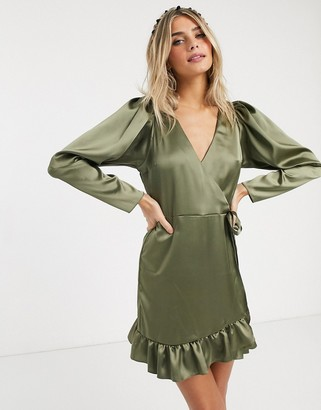 ASOS DESIGN satin wrap mini dress in khaki