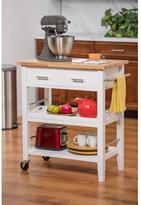 Trinity 30 in. W Wood Kitchen Cart with Drawers and Tray in White