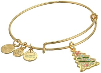 Alex and Ani Color Infusion, Seashell Christmas Tree Bangle Bracelet (Shiny Gold) Bracelet